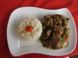 Great lunch specials and set meals at Le Safran. Here Thai-style beef with white rice.